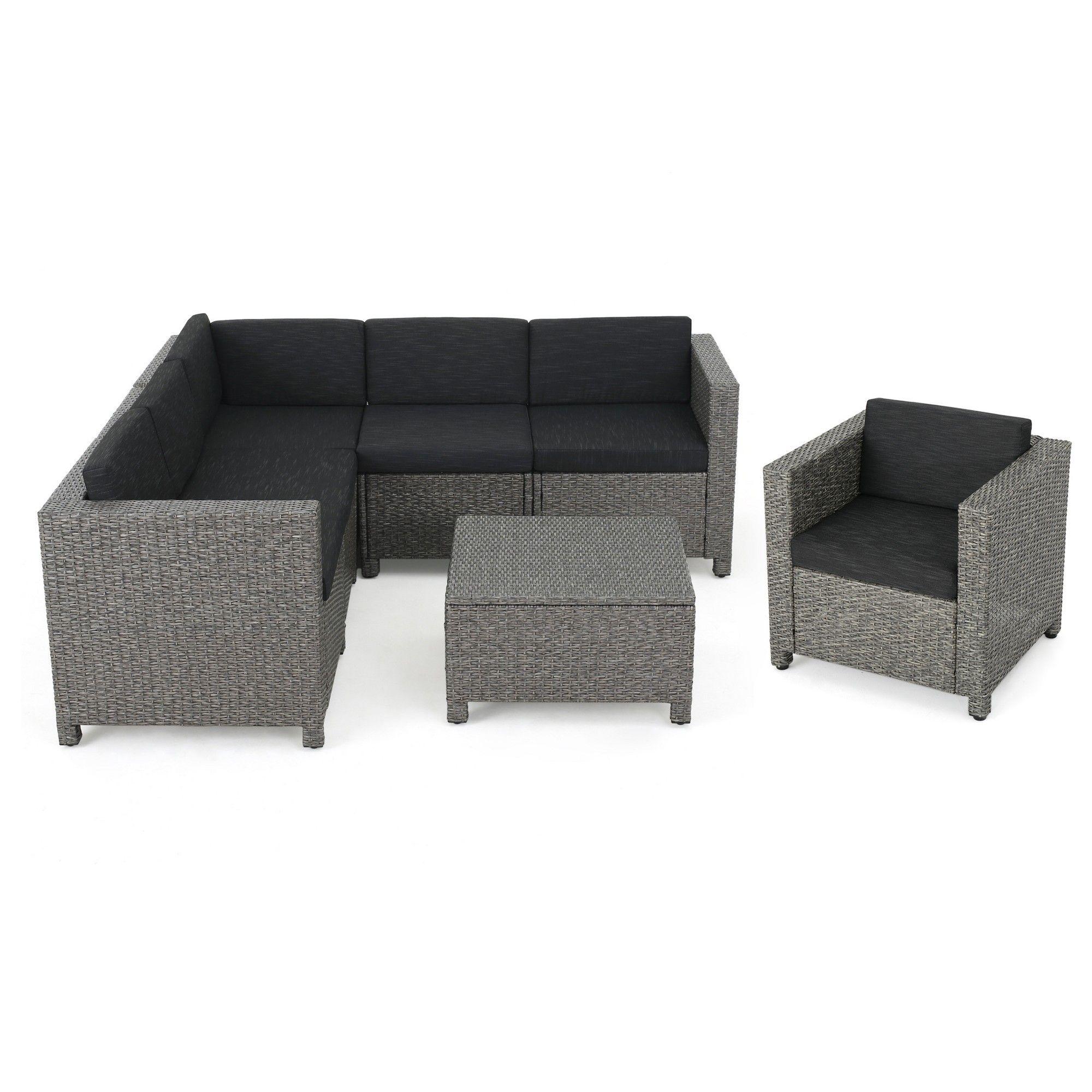 Puerta 7pc Wicker V Shaped Sectional Sofa Set Black Gray