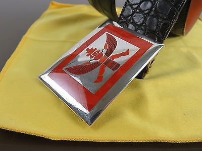 Harlan & Monica Coonsis Red Coral Knifewing Buckle & Crocodile Belt, New Mexico