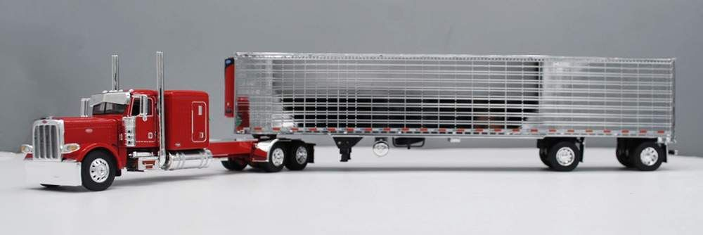 Peterbilt 389 320 w/60 Sleeper & Reefer Trailer (Red/Chrome), Trucks: Diecast Direct, Inc.