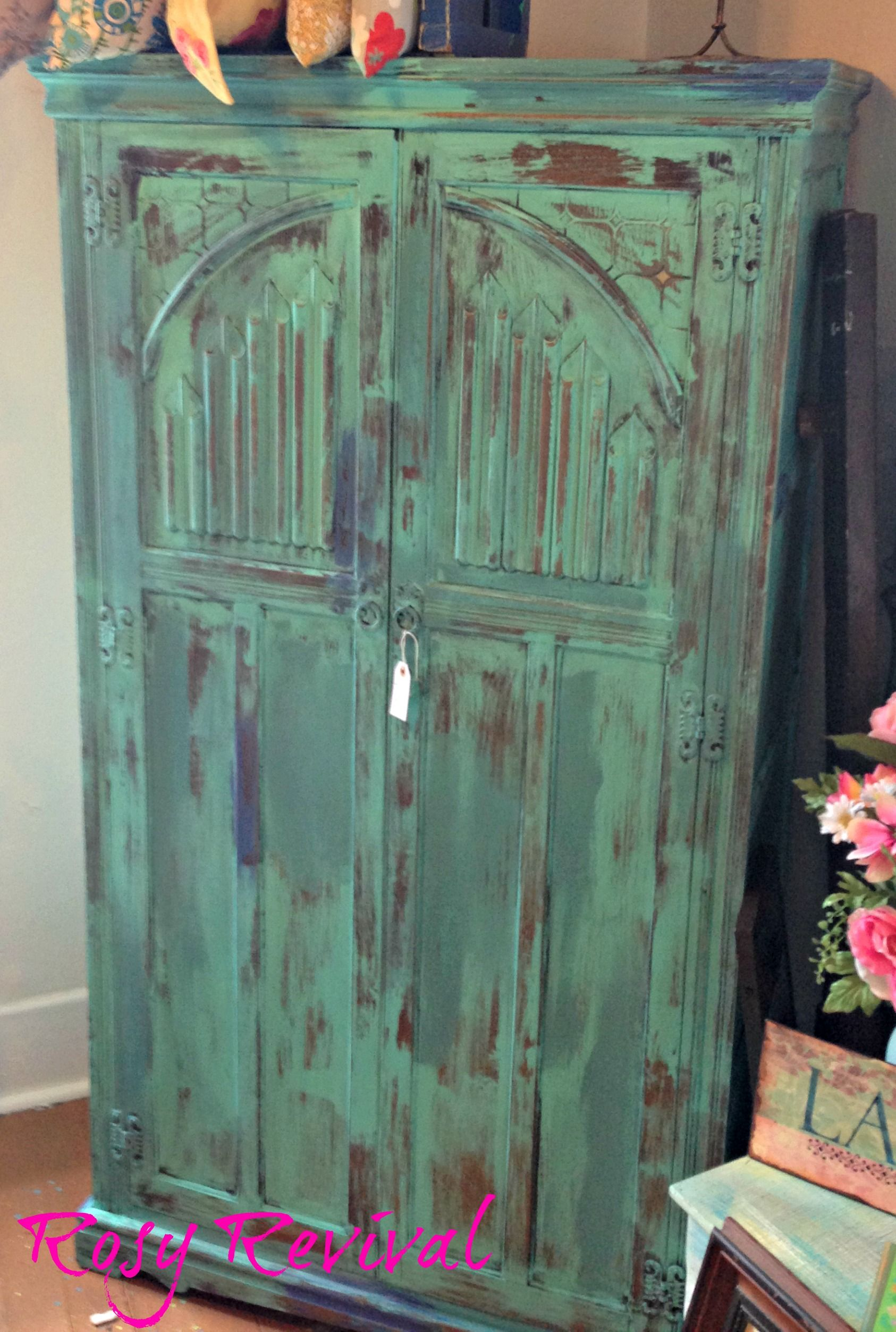 This armoire is perfect for a closet or a TV cabinet! Painted in ...
