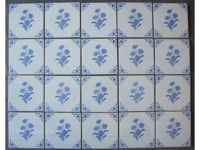 Lot de 20 carreaux faience desvres motif bleu carrelage for Carreaux de faience