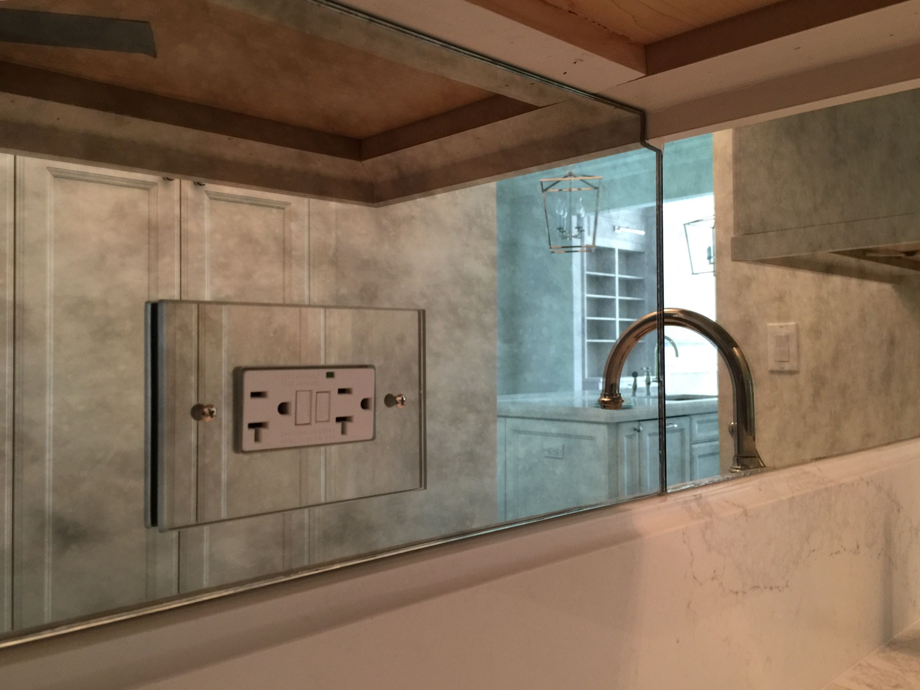 Antique Mirror Backsplash With Antique Mirror Electrical Outlet Cover To Match Antique Mirror