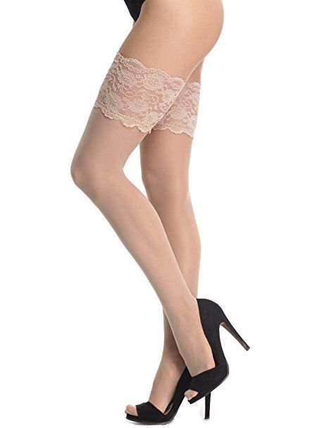 ef910fad5 AMORETU Seamed Stockings Silk Thigh High Hold ups for Women  Amazon.co.uk   Clothing