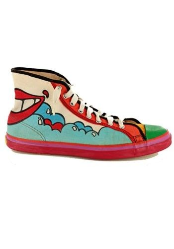 """Painted shoes !!  Peter Max for Randy (1969) in """"Sneaking Into Fashion"""" Exhibition"""