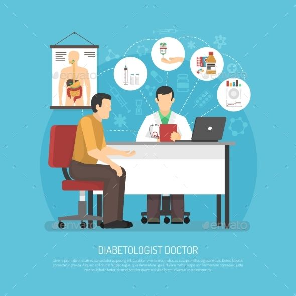 Diabetes treatment vector illustration with patient in doctors