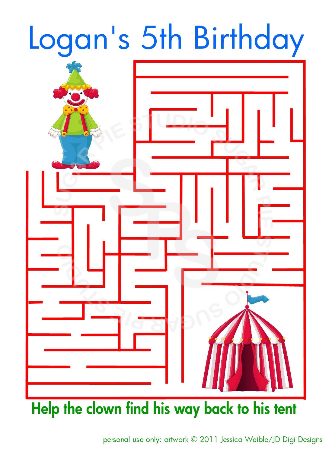 Any Theme Printable Personalized Clown Activity By
