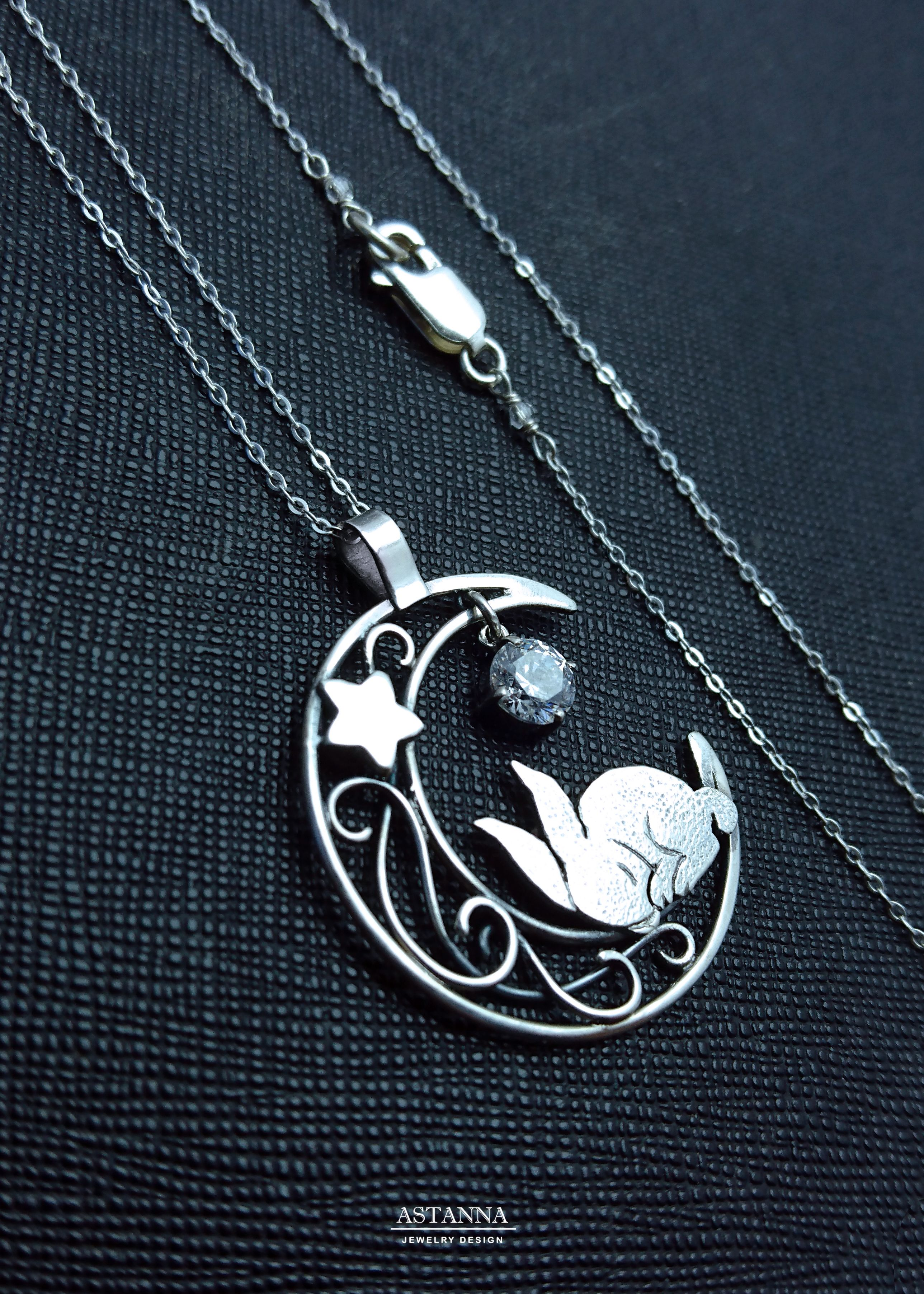 15+ Cute bunny sleeping on the moon Sterling silver rabbit   Etsy ... Stock