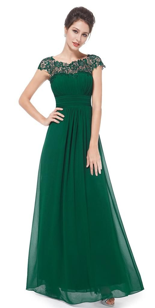 KATIE Emerald Green Lace Bridesmaid Evening Ballgown Dress Sizes UK ...