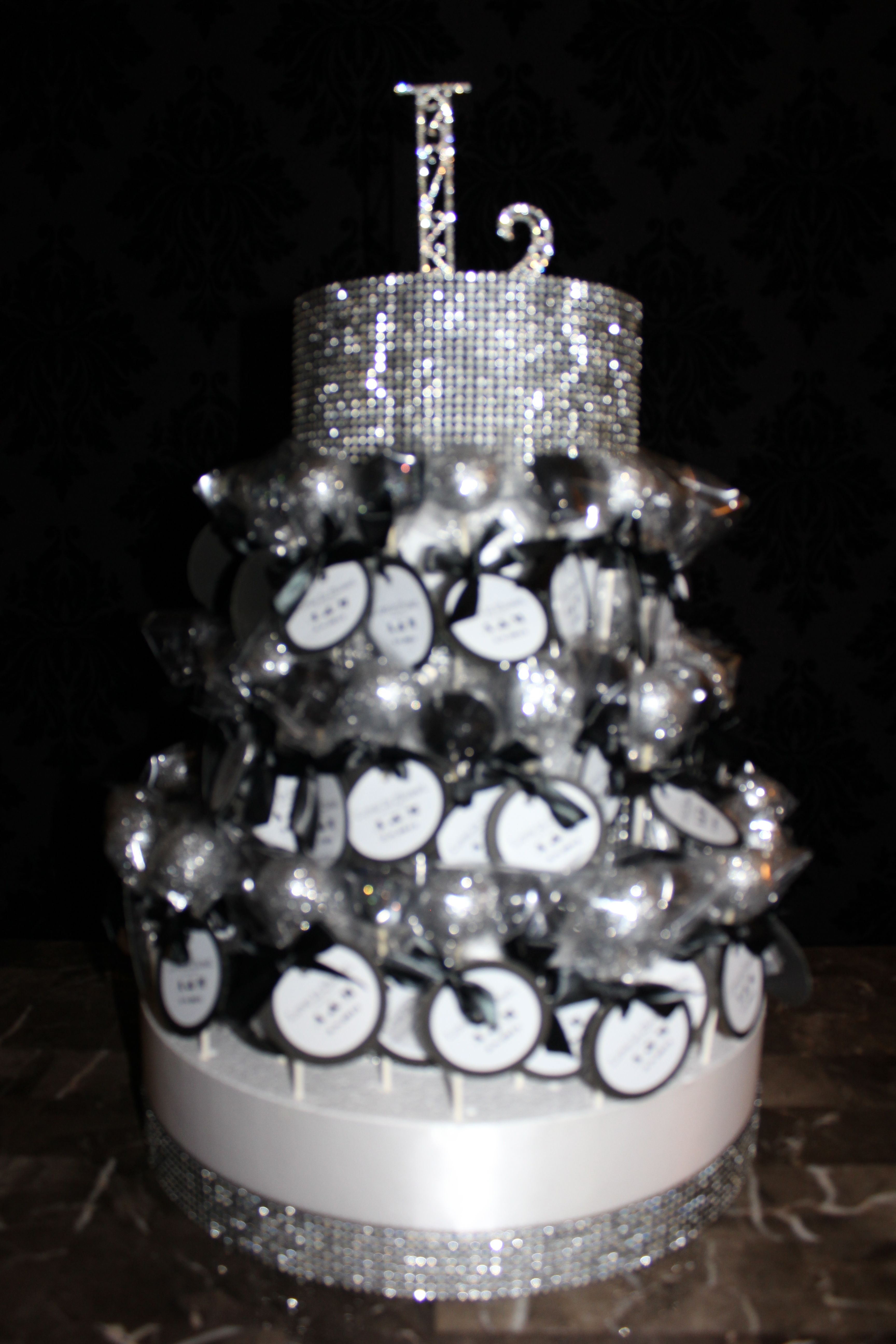 Black & Silver Cake Pops and Stand by RW Chocolate Fountain Rentals.  www.rwchocolatefountains.com