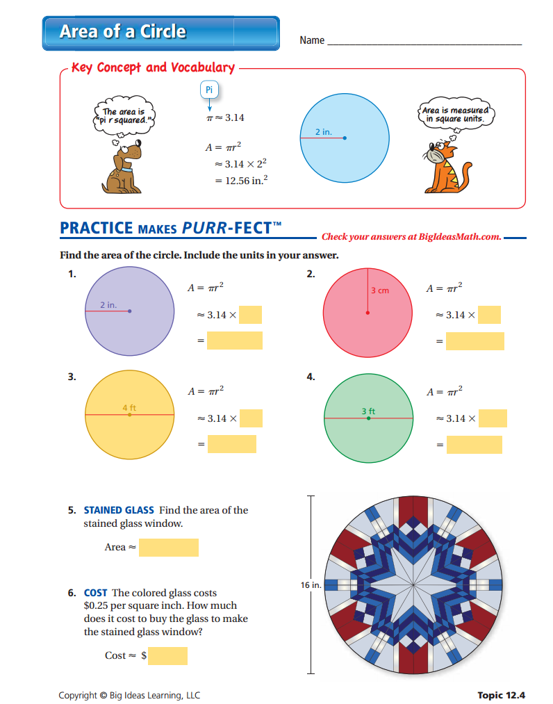 Workbooks worksheets on circumference and area of a circle : Area of a Circle Worksheet | Perimeter and Area (Middle School ...