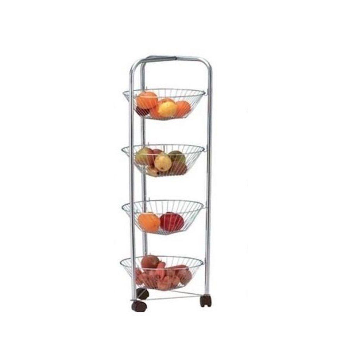Tier Fruit Vegetable Rack Wheels Kitchen Storage Stand Cart Trolley White Shelf Chrome 4 Tier Fruit Vegetable Rack Wheels Kitchen Storage Dengan Gambar