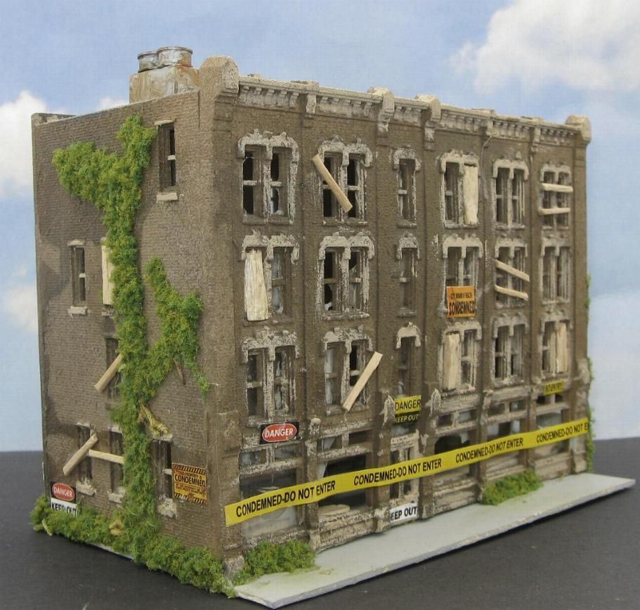 Model Train Buildings ABANDONED BUILDING in N scale by D A