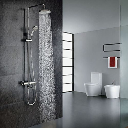 Chrome Finish Contemporary Shower Faucet with Handheld and 8 ...