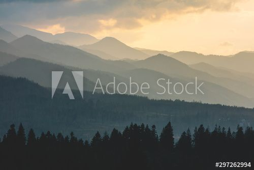 Forest under hills and mountains at sunset. Tatra Mountains in Poland. , #Sponsored, #mountains, #hills, #Forest, #sunset, #Poland #Ad
