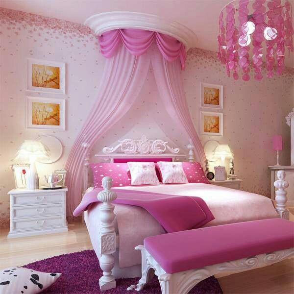 déco-chambre-ado-romantique-rose-blanc-princesse.jpg (600×600 ...