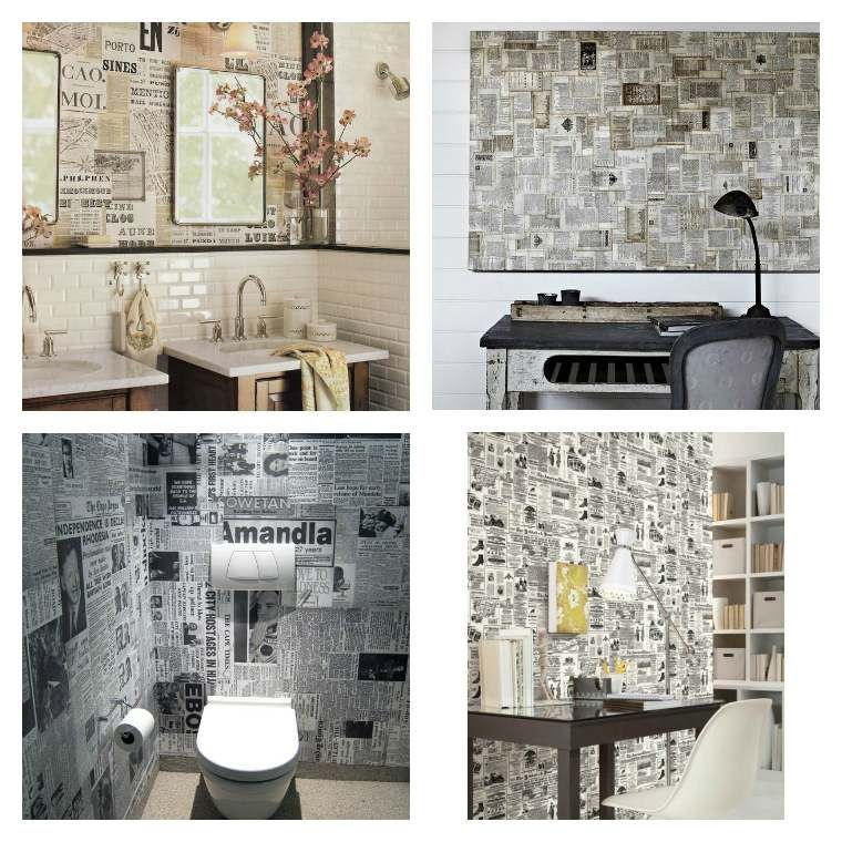 papier peint journal et pages de livres conseils d co id e salle manger. Black Bedroom Furniture Sets. Home Design Ideas