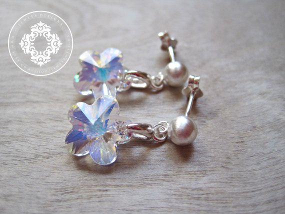 Flower Girl Earrings AB Swarovski Flower Crystal by JewlesDesigns