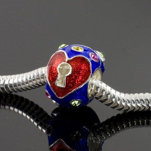 Sterling Silver Bead for European Bracelet Key to My Heart Red on Blue | enameljewelry - Jewelry on ArtFire