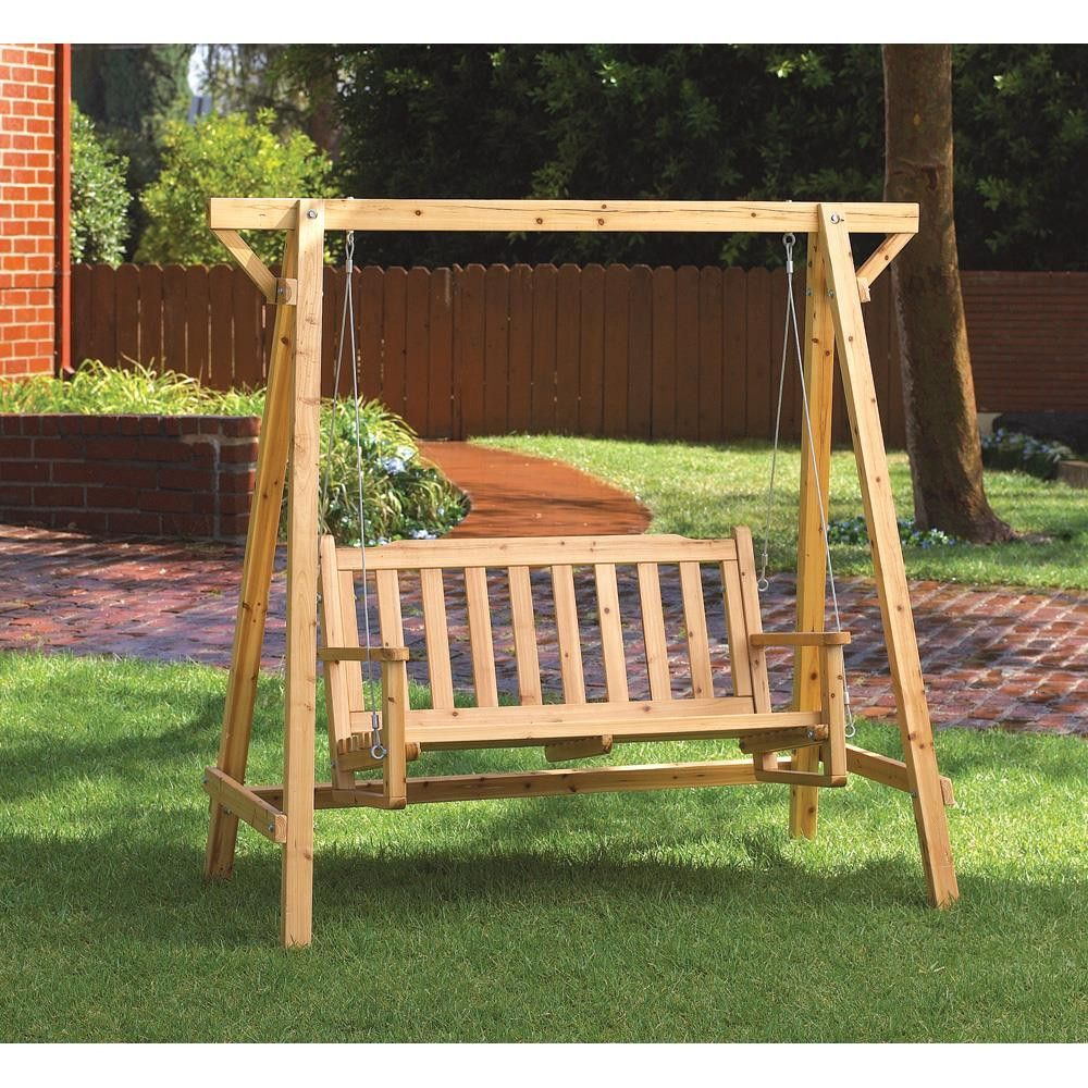 Rustic Garden Swing Is Perfect For Porch Or Patio; Comfy Bench Is Roomy  Enough For