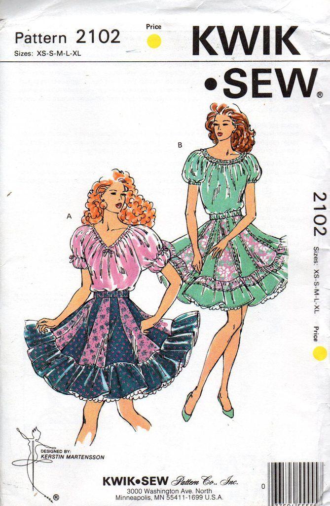 Kwik Sew 2102 Womens Flounce Hem Square Dance Skirt Blouse 90s