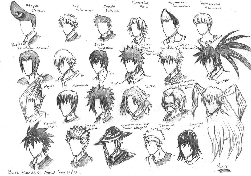 Buso Renkin S Hairstyles By Varjostaja On Deviantart Anime Hair Anime Hairstyles Male Anime Boy Hair