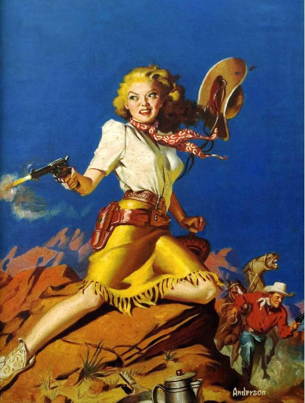 pulp art by Allen Anderson, western cowgirl woman girl dame pistol revolver  gun shot danger cowboy