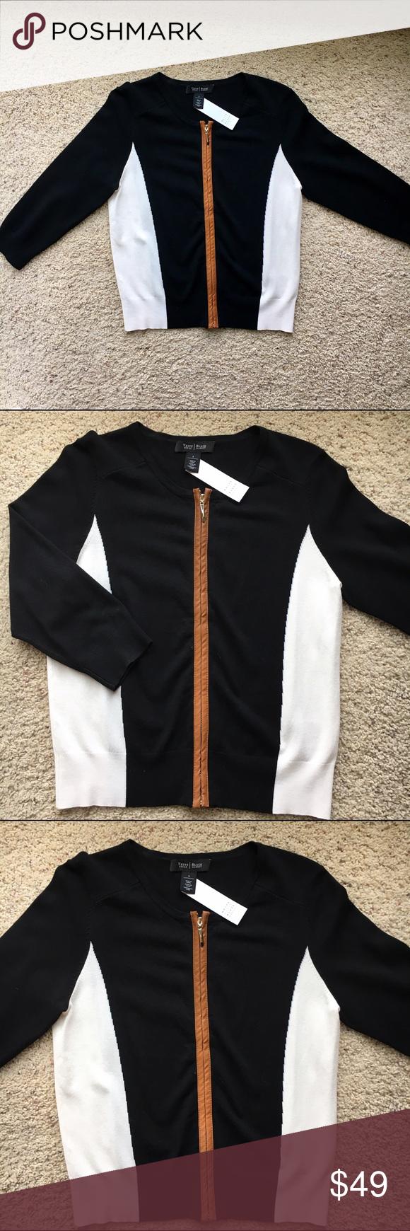 WHBM ZIP UP CARDIGAN White House black market zip up cardigan with tan leather trim. NWT White House Black Market Sweaters Cardigans