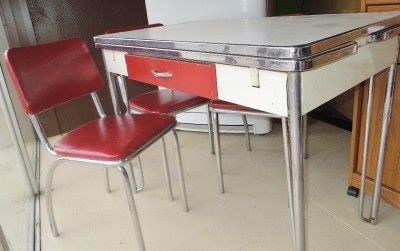 Gentil 1950 Antique Dining Table With Chrome Legs | ... Howell Kitchen Set Circa  1940 50s   White Table, Red Chrome Chairs