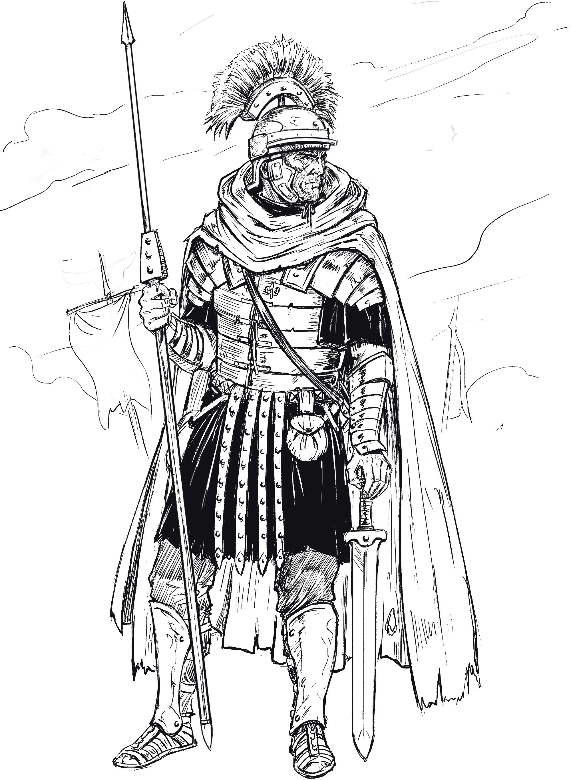 Learn To Draw A Roman Soldier In 7 Easy Steps Improveyourdrawings Com Roman Soldiers Soldier Drawing Roman Armor