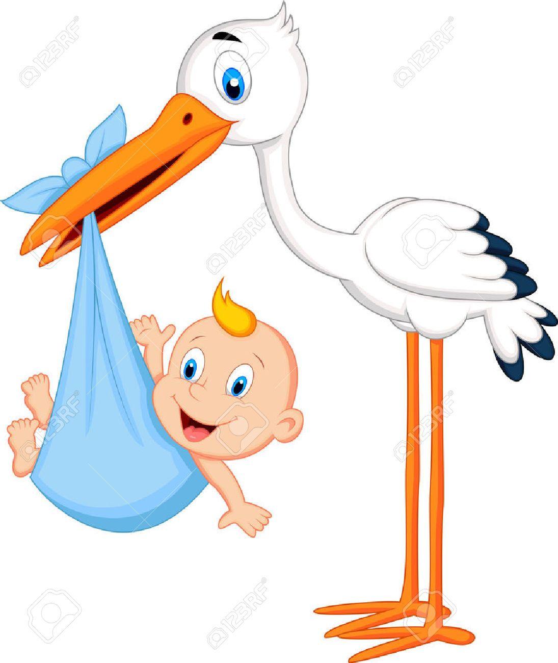 Cig e a de la historieta que lleva el beb ilustraciones - Immagini di cicogne che portano bambini ...