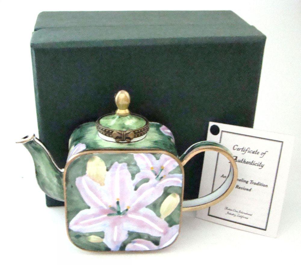 KELVIN CHEN Enamel Hinged Miniature Teapot Asiatic Lilies ENK732