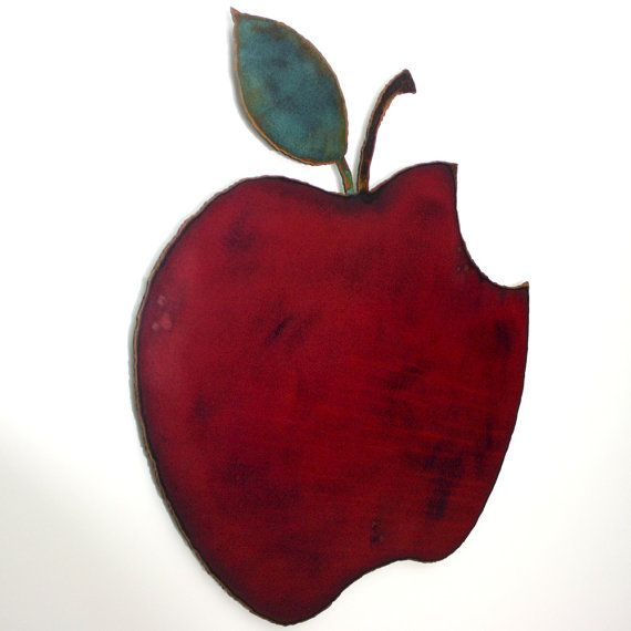 Apple wall art 12 wide red green and rust by FunctionalSculpture ...