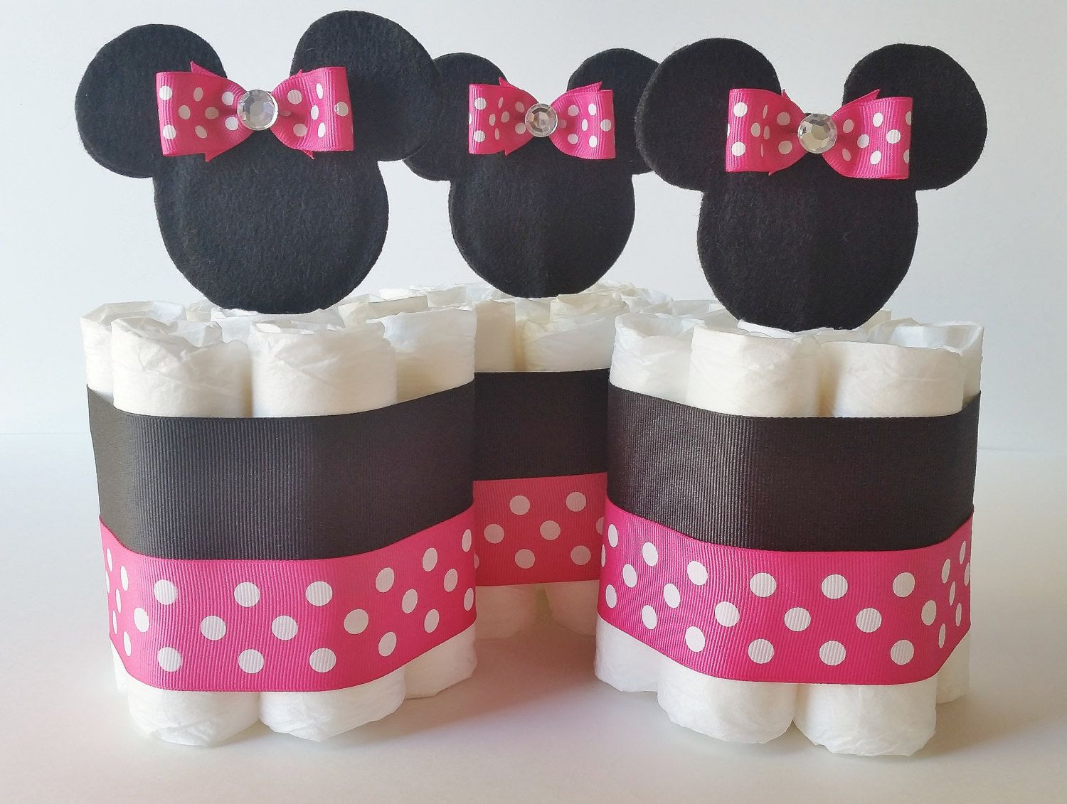 mini diaper cakes for girls google search baby shower. Black Bedroom Furniture Sets. Home Design Ideas