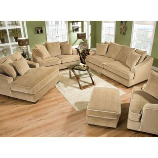 @Overstock.com - Brighton Taupe 3-piece Chaise and Sofa Set - Plush  sc 1 st  Pinterest : sofa loveseat and chaise set - Sectionals, Sofas & Couches
