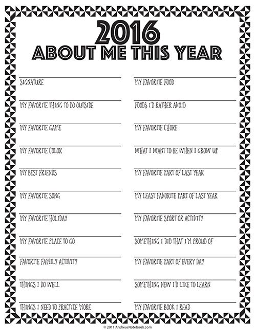 Interview Your Child Free Printable Form New Year Printables