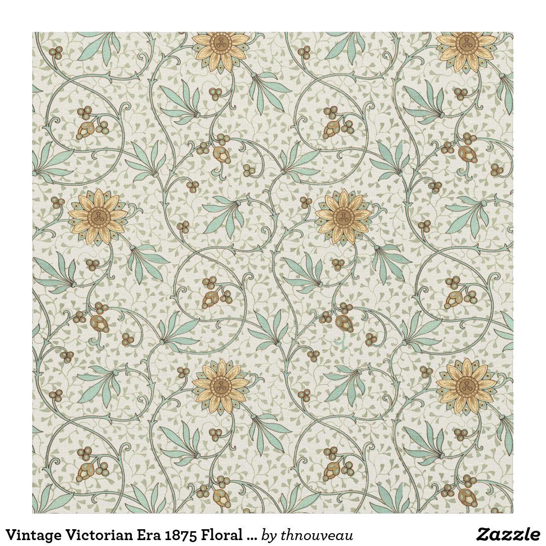 Vintage Victorian Era 1875 Floral Pattern Fabric Vintage