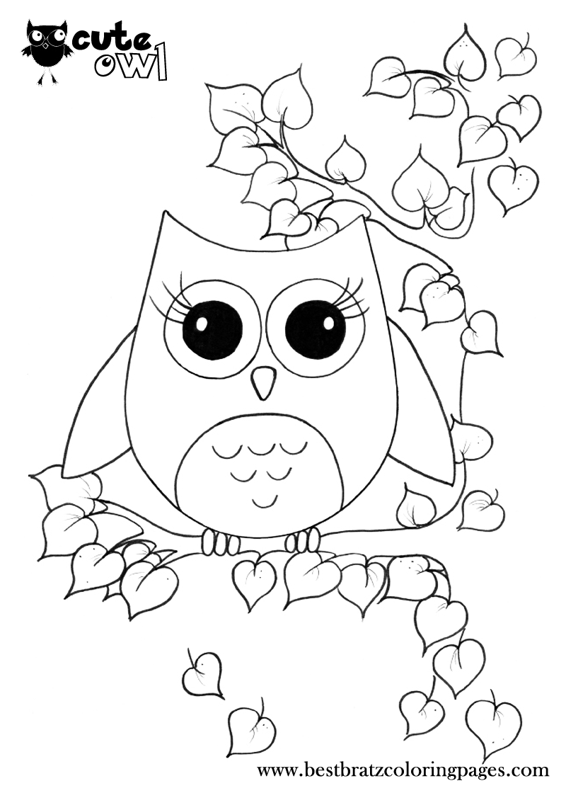 Cute Owl Coloring Pages Bratz Coloring Pages Owl Coloring Pages Coloring Pages For Girls Coloring Pages