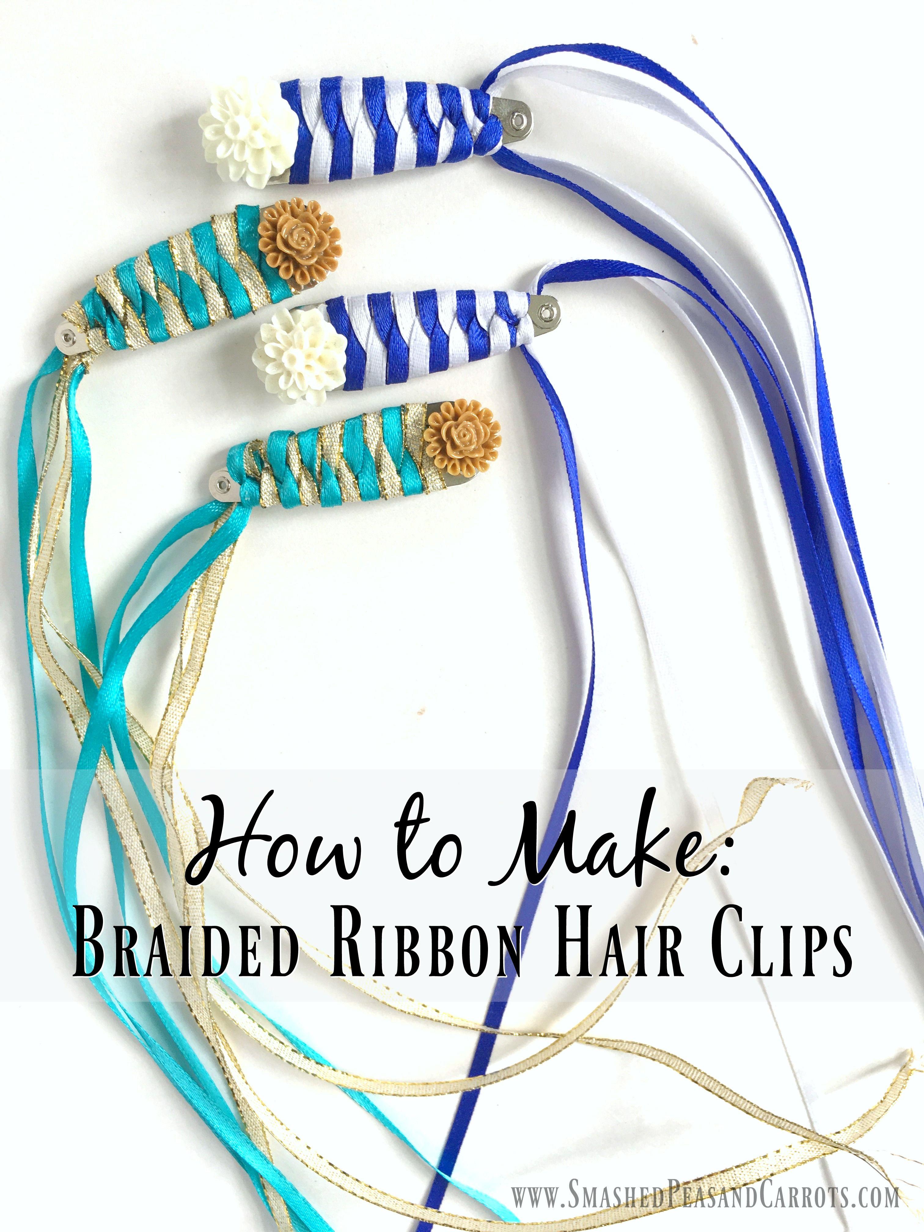 Braided Ribbon Hair Clip Ribbon Hair Clips Ribbon Hair Hair Clips Diy