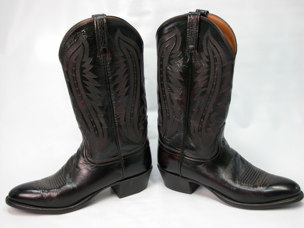 4201982d1be Men's Lucchesse 2000 Black Cherry Leather Cowboy Boots Size 10 B ...
