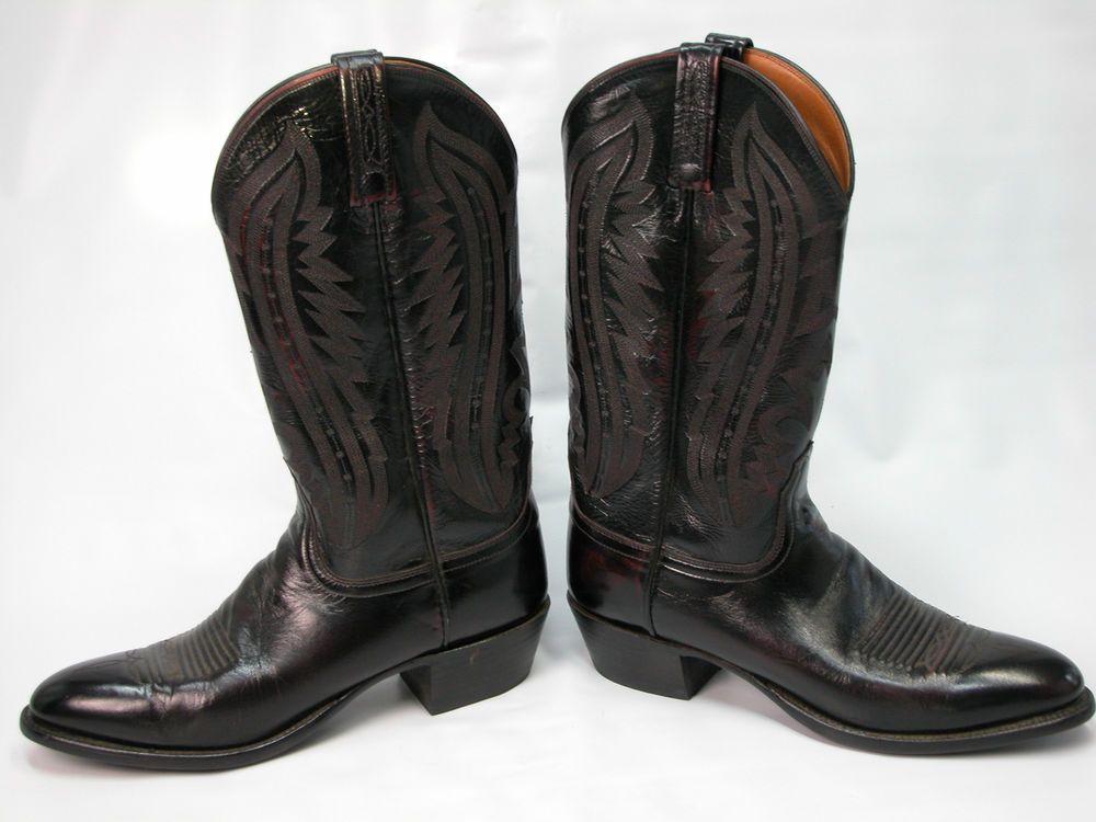 c1a1f75eda7ec Men's Lucchesse 2000 Black Cherry Leather Cowboy Boots Size 10 B ...