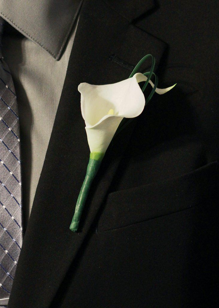 White Real Touch Calla Lily Boutonniere With Grass Accents6 Tall4 Per Pack Calla Lily Bouquet Wedding Calla Lily Boutonniere Purple Wedding Bouquets