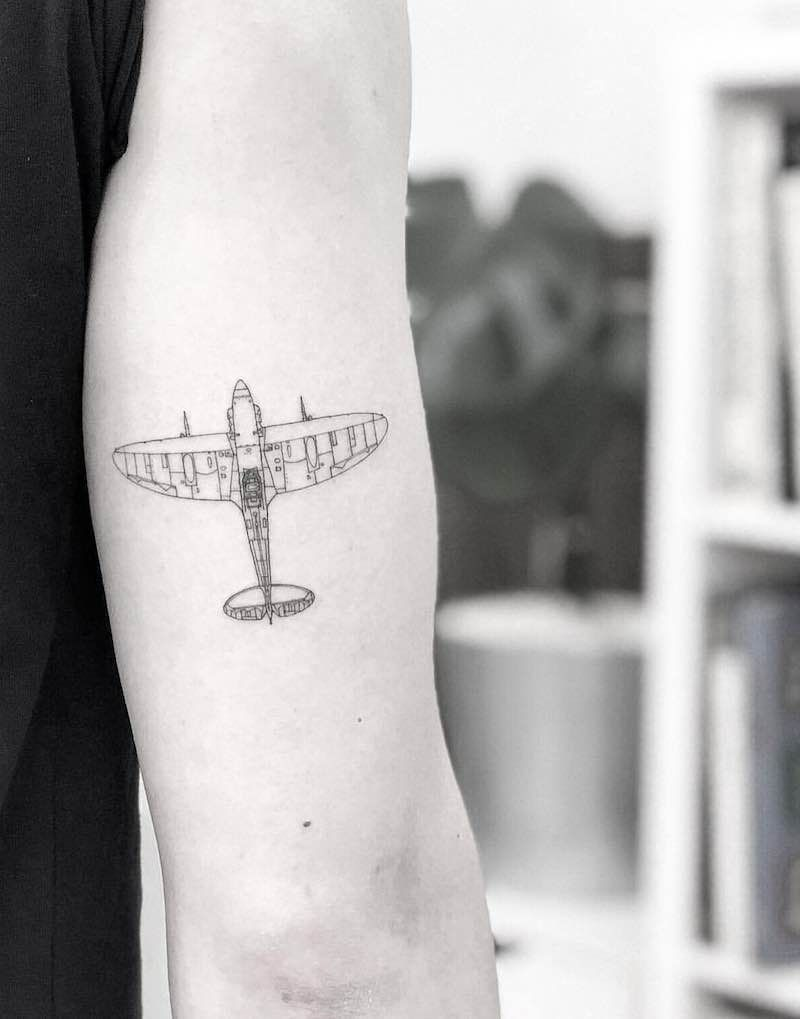 simple small airplane tattoo designs