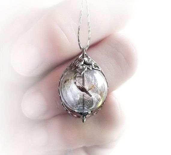Dandelion necklace, glass ball necklace with real dandelion seeds, nature's treasure