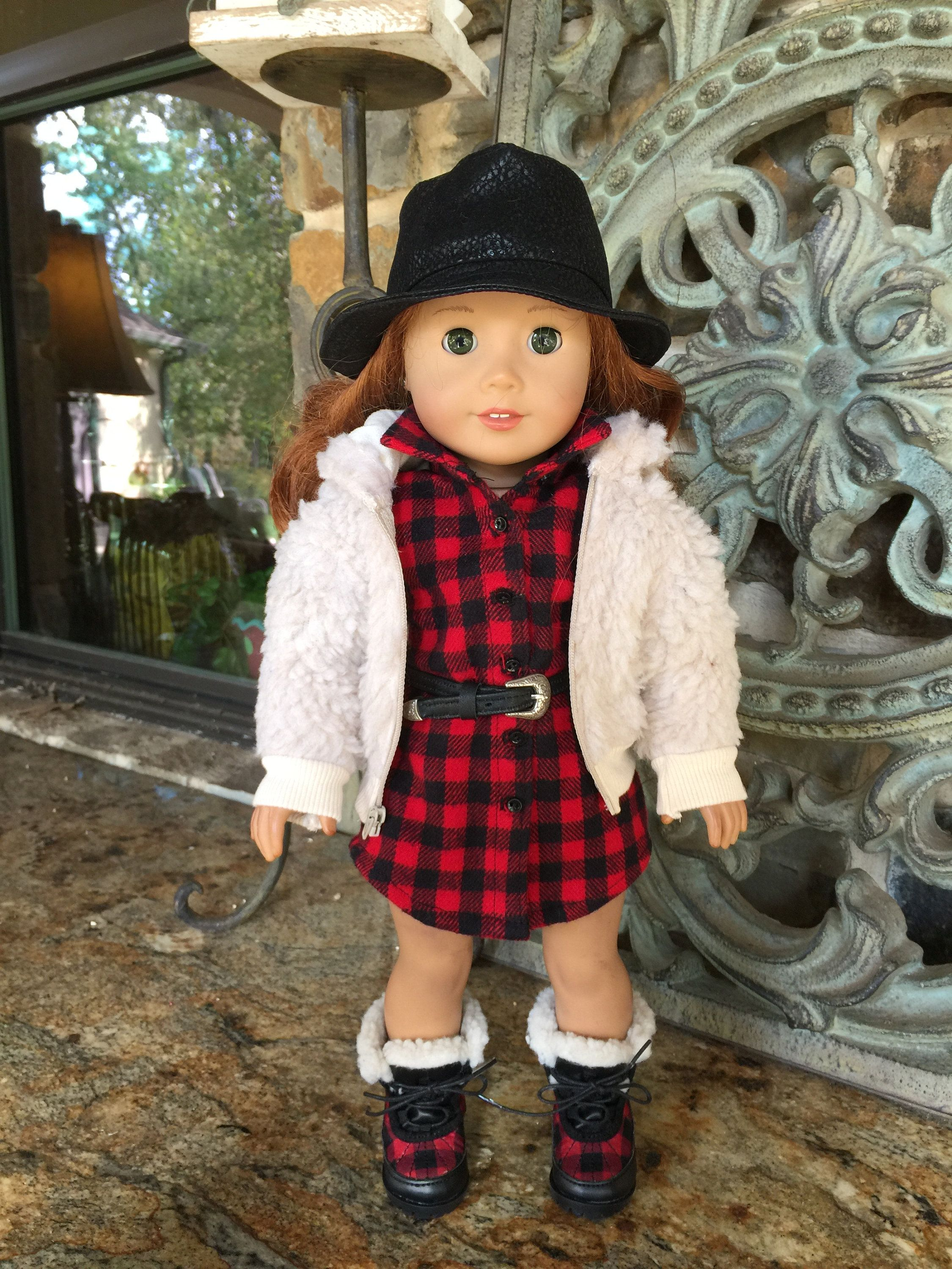 18 inch doll clothes made to fit dolls like the American Girl Doll-Buffalo check tailored dress #18inchdollsandclothes