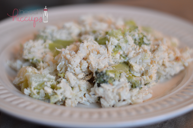 Chicken, Broccoli and Rice {Crock Pot Recipe}  I added a can of 98% fat free cream of mushroom along with the other ingredients.