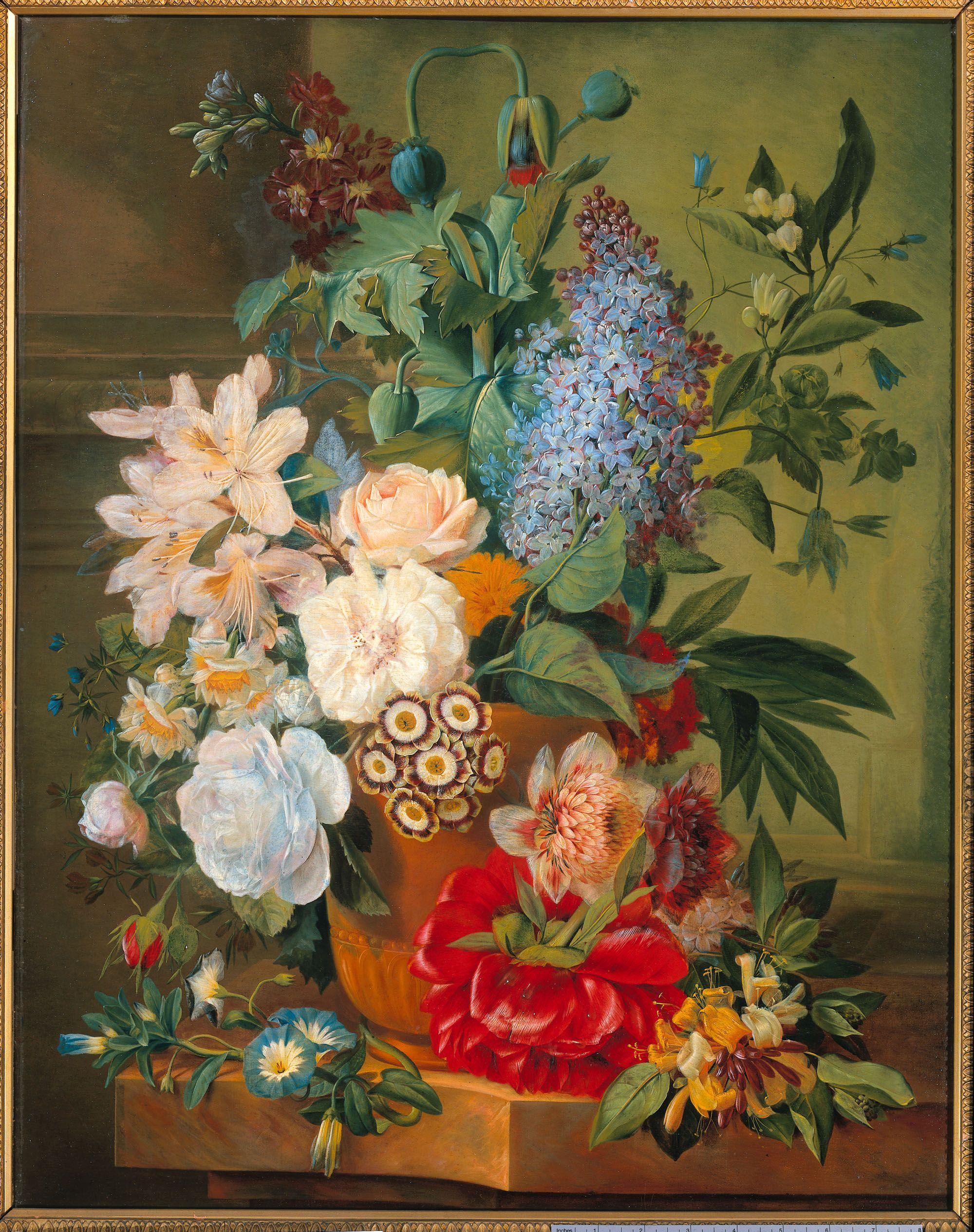 Bloemen in een terracotta vaas flowers art stilleven for Schilderijen van bloemen