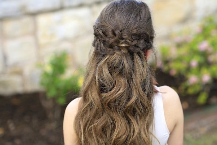 Photo of brown-hair-blonde-highlights-half-up-half-down-braid-white-top
