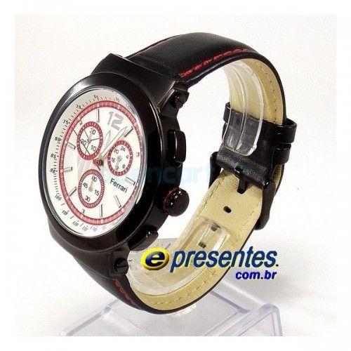 73a4f6855da FC007-B Relógio FERRARI RUNNER Cronógrafo Masculino Pulseira de Couro