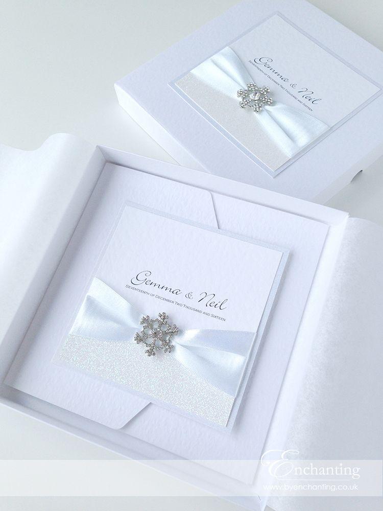White Winter Wedding Invitations The Elsa Collection - Pocketfold