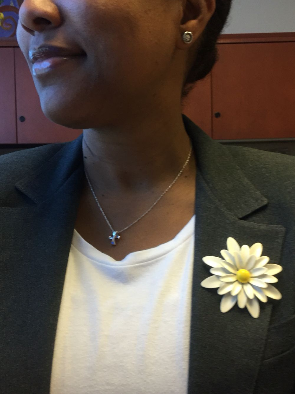 White vintage flower brooch